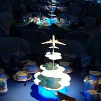 Westjet themed centerpieces take flight