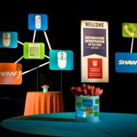 Displaying the Shaw brand for a reception