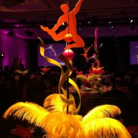 Centerpieces for a Cirque show and dinner