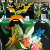 Georigia Peach golf tournament with oversize lemon, lime slices and peach themed tables