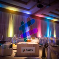 We created a glass hashtag based on the SLACK brand logo