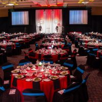 The ballroom reflected the Lululemon colours of black and red