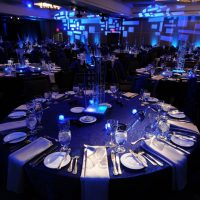 Insite Centerpieces for a Jazz Club theme by MacGillivray and Associates