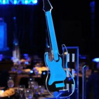Acrylic centerpieces reflect the blues from LED lights set in the base