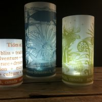 Re-usable Luminaries made for Tourism New Brunswick with artwork by Hermani and Sorrentino Design