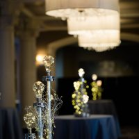 LED bulbs and lights combine in a centerpiece that has sparkle.