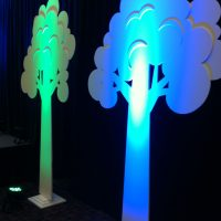 Layered foam core trees for stage